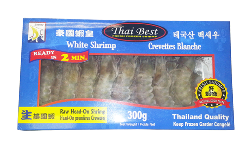 Picture of SEARAY FOODS PACIFIC WHITE SHRIMP RAW HEAD ON 300G